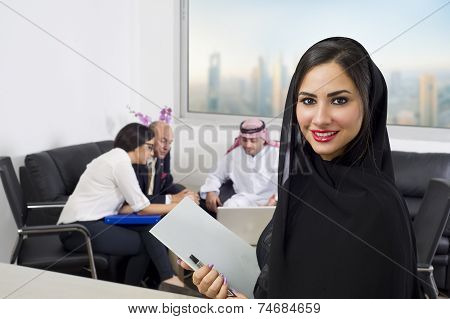 Arabian Businesswoman attending a meeting