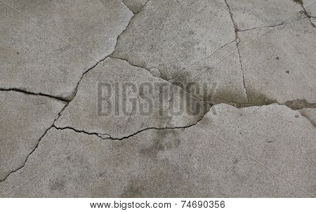 Old grey cement asphalt texture with cracks poster