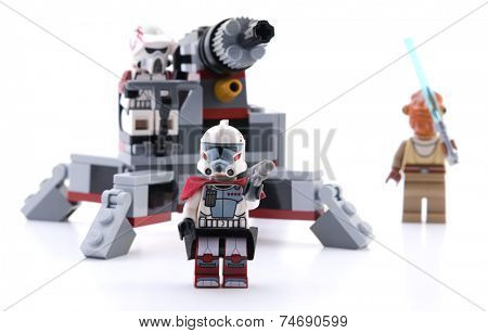 Ankara, Turkey - April 15, 2012: Lego Star Wars Elite clone trooper commando droid battle pack includes troopers and enemy commando droids isolated on white background.