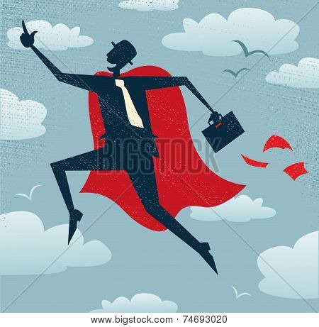 Abstract Businessman Is A Superhero.