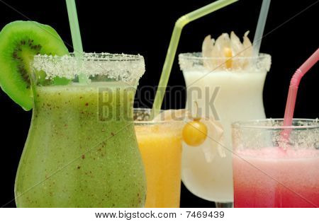 Different colored smoothies