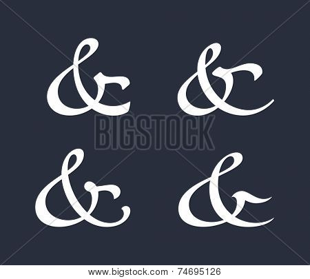 Stylish and elegant custom ampersands for invitations or cards. Vector illustration