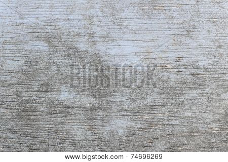 Aged wooden background of weathered distressed rustic wood with faded light blue paint showing woodgrain texture