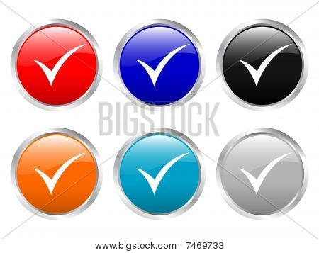 Glossy Buttons Check Symbol