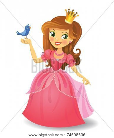 Illustration of beautiful princess  keeping a bird on a hand on wight background. Vector illustration. poster