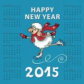 Calendar new Year 2015.Year of Sheep. Vector Cartoon colored sheep skate.Cyan background. poster