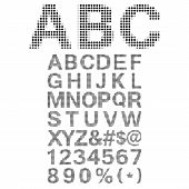 Pixel Font - Alphabets and numerals characters in retro square pixel font. poster