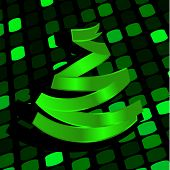 Festive background with green Christmas-tree made of ribbon. Vector illustration  poster