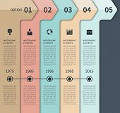 Modern minimal timeline arrow infographics elements. Origami style. Vector illustration. Can be used for workflow layout, diagram, number and step up options, timeline options, web design. poster