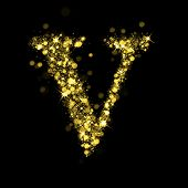 Sparkling Letter V on black background. Alphabet of golden glittering stars (glittering font concept). Christmas holiday illustration of bokeh shining stars character.. poster