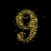 Number nine of gold glittering stars (glittering font concept). poster