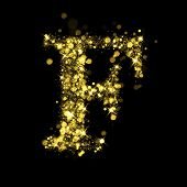 Sparkling Letter F on black background. Alphabet of golden glittering stars (glittering font concept). Christmas holiday illustration of bokeh shining stars character.. poster