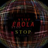 Abstract globe shape on black background with text. Ebola Virus Epidemic concept. Digitally generated image. poster