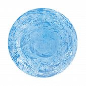 blue ball of frost on a white background isolated poster