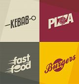Set of unique fast food logo design concepts and ideas. Pizza, kebab, burger and fast food retro design elements, symbols, icons and banners. poster