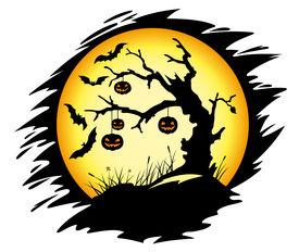 Halloween tree with pumpkins
