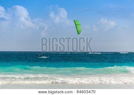 Kitesurf At Tulum, Caribbean Paradise. Traveling Mexico Water Sport.