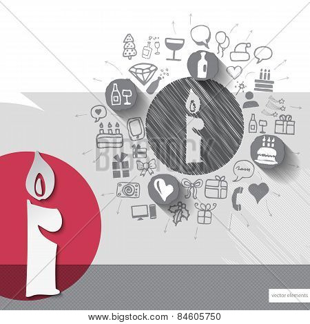 Hand drawn candle icons with icons background