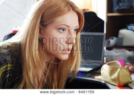 Blonde Young Woman Examinate Her Pretty Face