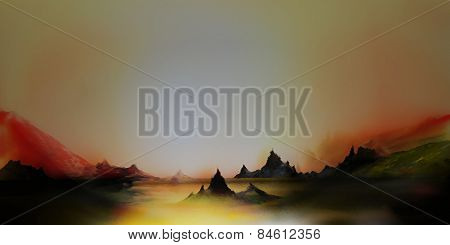 illustration of digital painting of surreal landscape with dark mountains, in yellow, red, white,black and green colors poster