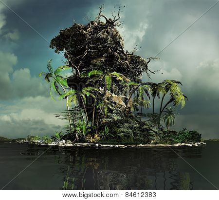 3D illustration of landscape of a tropical island