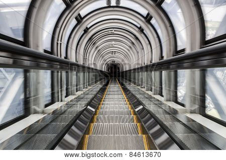 Motion blur from movement in an escalator