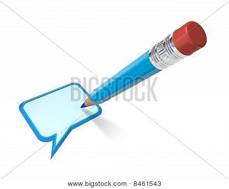 Speech bubble and pencil