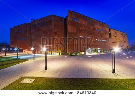 GDANSK, POLAND - FEBRUARY 21, 2015: Rusty steel building of European Solidarity Centre in Gdansk, Poland. The ECS museum located at the docyard is a memorial of anti-communist opposition in Poland.