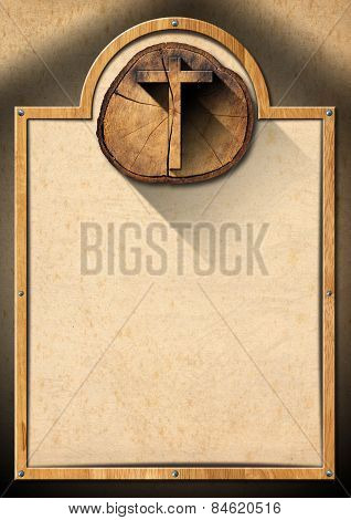Christian background with wooden frame and wooden cross on a section of tree trunk poster