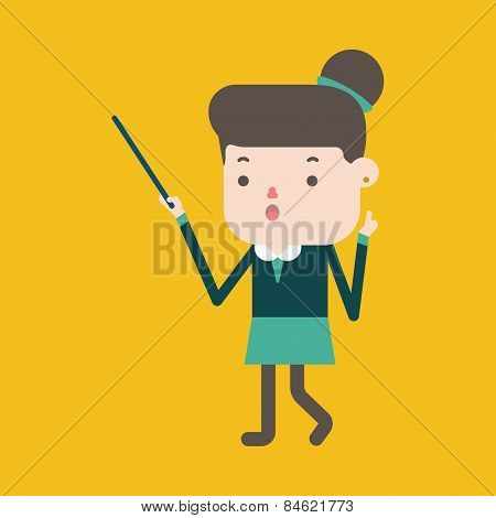 Character Illustration Design. Businesswoman Delivering The Speech Cartoon