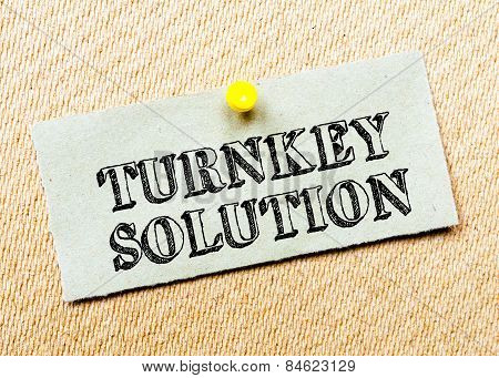 Recycled Paper Note Pinned On Cork Board.turnkey Solution Message