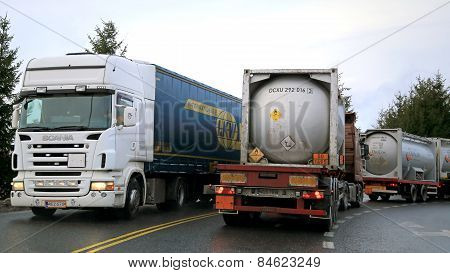 Busy Trailer Truck Traffic