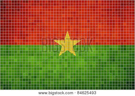 Abstract mosaic flag of Burkina Faso