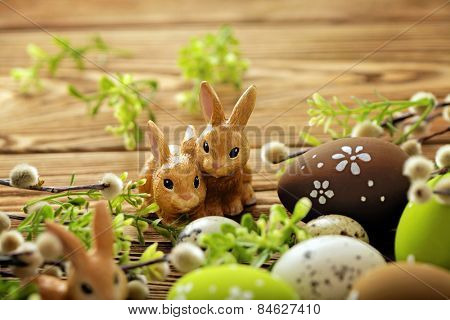 colorful easter eggs and easter rabbit