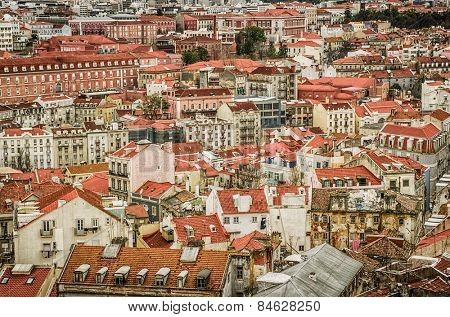 Birdseye sightseeing view of old downtown of Lisbon, Portugal