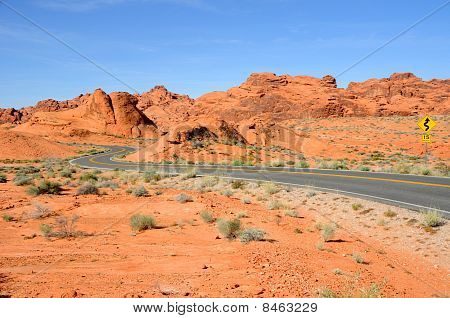 Scenic Road Through Valley of the Fire State Park