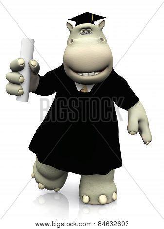 Cartoon Hippo Wearing Graduation Cap, Gown And Diploma.