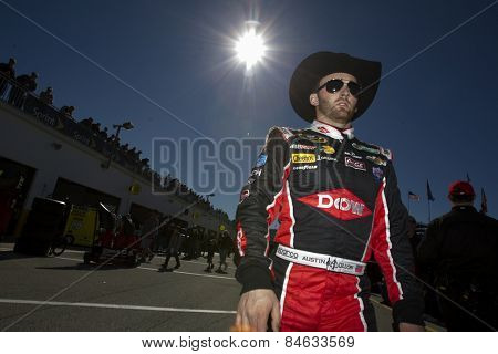 Daytona Beach, FL - Feb 18, 2015:  Austin Dillon (3) walks through the garage area during a practice session for the Daytona 500 at Daytona International Speedway in Daytona Beach, FL.