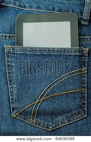 Tablet PC in the pocket of jeans