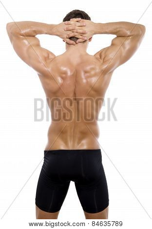 poster of handsome young bodybuilder showing of his fit body and muscles