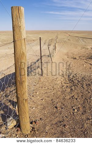 Dingoe fence in the Australian Outback.