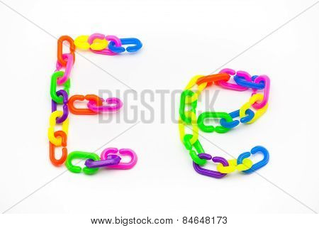 E And E Alphabet, Created By Colorful Plastic Chain