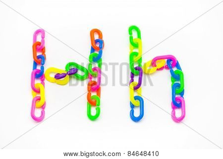 H And H Alphabet, Created By Colorful Plastic Chain
