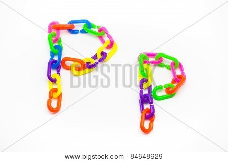 P And P Alphabet, Created By Colorful Plastic Chain