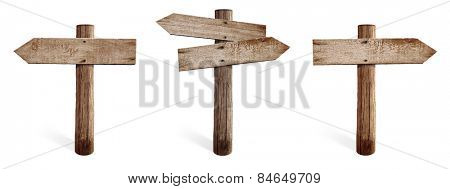 Old wooden road sign set including right, left and both sides arrows isolated