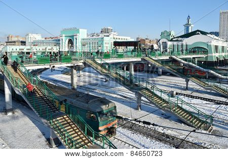 NOVOSIBIRSK, RUSSIA - JANUARY 11, 2015: Building of the main train station. The station is starting point of Turkestan-Siberian railroad and a key point of Trans-Siberian railroad