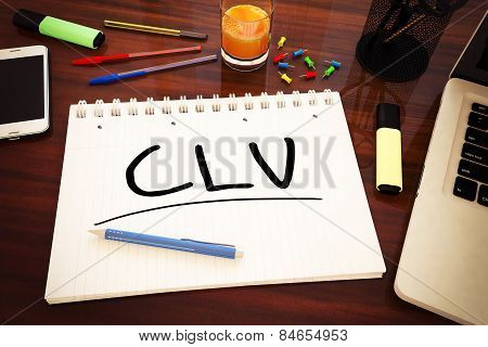 CLV - Customer Lifetime Value - handwritten text in a notebook on a desk - 3d render illustration. poster