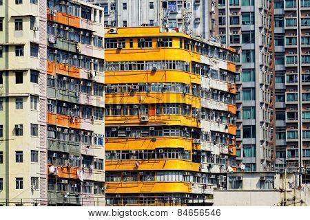 Old apartment buildings in hong kong