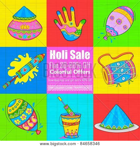 illustration of set of Holi element in Indian kitsch style