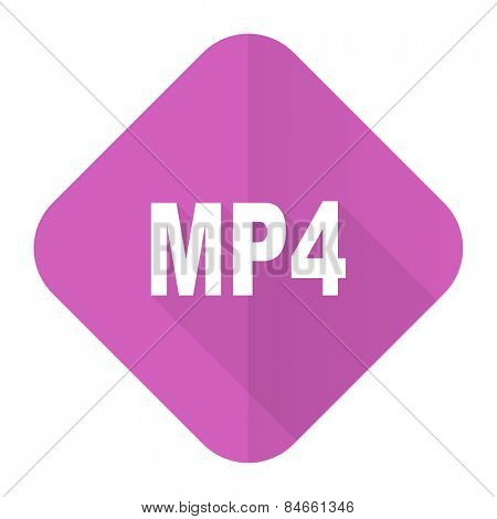 mp4 pink flat icon